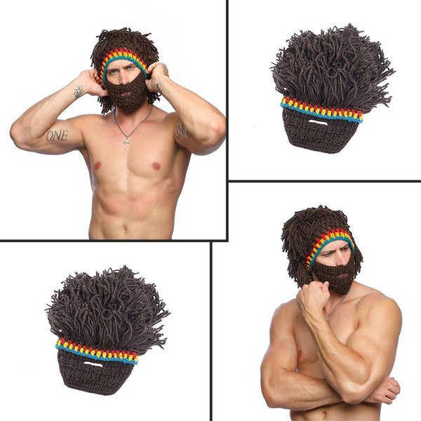 Unisex Knitted Hat Funny Wig Beard Hats Warm Cap Party CosplayCasual Autumn Winter As Picture 155g Patchwork Casual