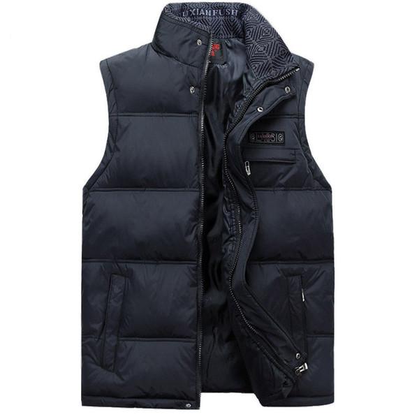 Men Sleeveless Jacket China Winter Vest Male Casual Coats Cotton-Padded Men Warm High Collar Vest Photographer Waistcoat Red