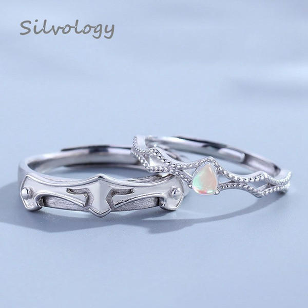 silvology princess and knight moonstone couple rings original 925 sterling silver wedding rings for women romantic jewelry gift