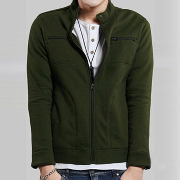 Men's Winter Zipper Jacket Slim Stand Collar Jacket Men Tops Long Sleeve Casual Coat Outerwear men jackets