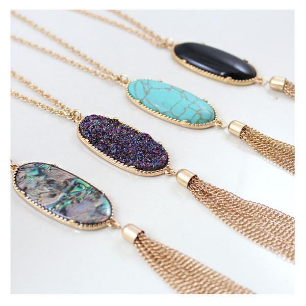 fashion style Bohemian Long Tassel Statement Necklaces for Women Natural Stone Druzy Pendant Bulk Price free shipping
