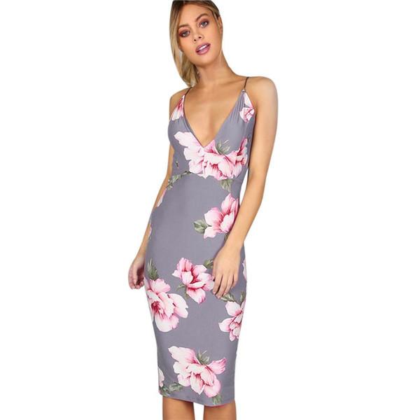 Compre Moda 2018 Maxi Vestido De Las Mujeres Bodycon Party Vestidos Largos Floral Sin Respaldo Honda Vendaje Vestido Vestidos Vestidos Roupa Feminina