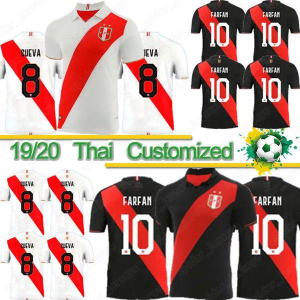 Jersey Thai Football Copa America Pérou GUERRERO FARFAN FLORES 19/20 Pérou Accueil Blanc Loin noir de l'équipe nationale de football shirt d'uniforme de football