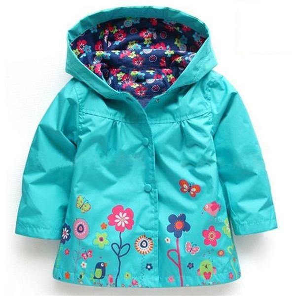 2016 Fashion Cute Kids Girls Flowers Wind Rain Jacket Hooded Long Sleeve Windbreak Girl Waterproof Jacket Outwear Raincoat 2-6Y