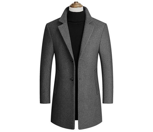 Designer Mens Blends Winter Wool Lapel Neck Long Sleeve Mens Outerwear Fashion Long Regular Male Coats