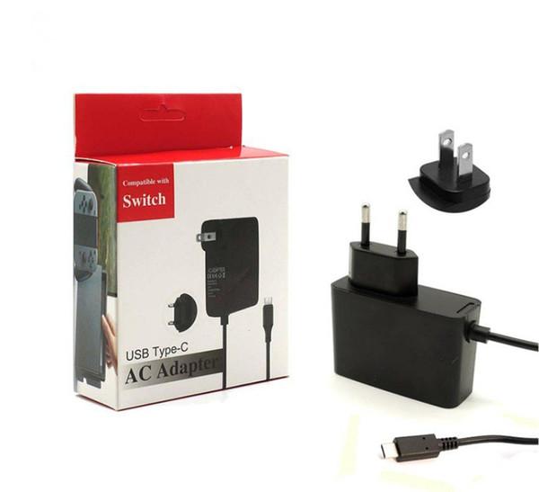 Casa Parede de Viagem Adaptador AC carregador Carregador interruptor Para nintendo switch NS Adaptador de jogo 5 V 2.4A EUA Plug UE USB Tipo C porta de Carregamento