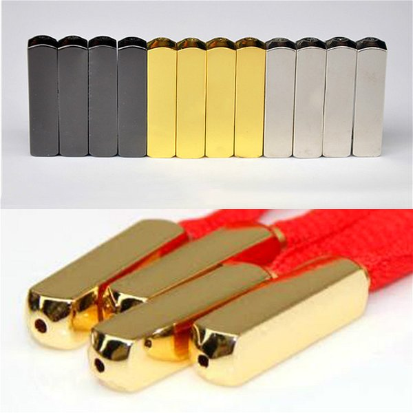 meetee FZ033 sewing accessories Gold/Silver laces tips for sneaker Square buckle shoe laces Metal head button rope lock stopper