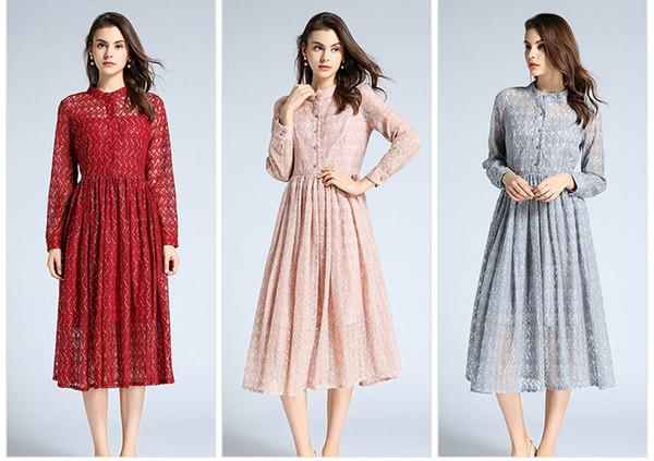 Três Cores Escolher Moda Feminina Lace Vestido, Primavera e Outono Da Senhora Saias Midi, Manga Longa, Gola
