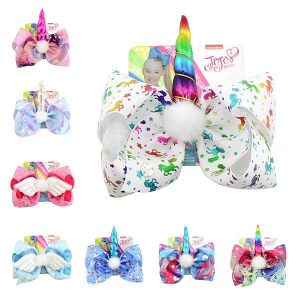 INS Jojo Siwa Unicorn Hairpin Girls Bambini Archi Unicorn Barrette Pin Baby Girls Fermagli per capelli con Tag carta Accessori per capelli A32704
