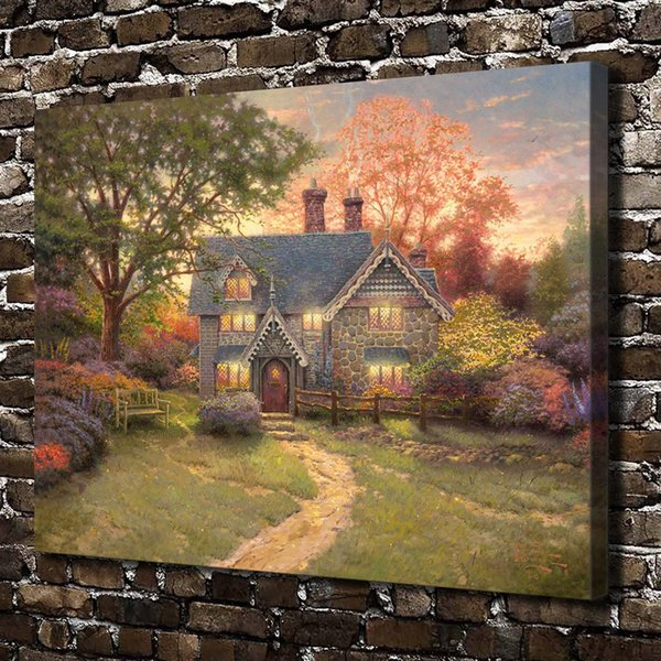 Thomas Kinkade,Gingerbread Cottage,1 Pieces Canvas Prints Wall Art Oil Painting Home Decor (Unframed/Framed)