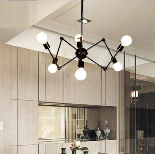 2019 lampes suspendues, lumière industrielle moderne accrochant d'araignée accrochant la lumière réglable nordique de salon rétro