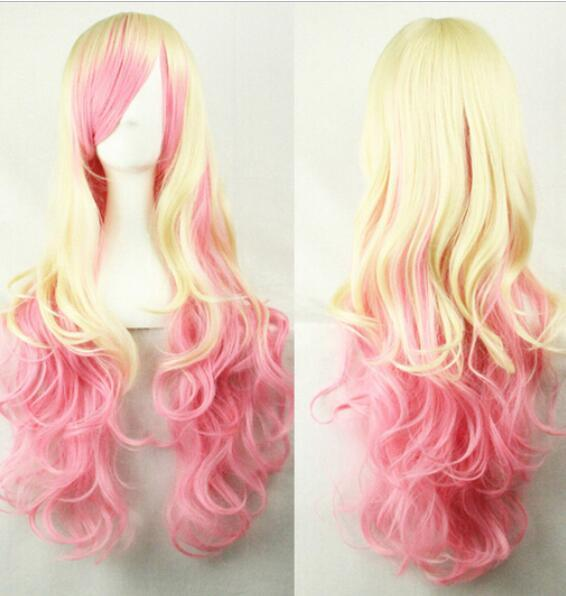 FREE SHIPPING + + Fashion Lolita Long Curly Cosplay Party Rainbow Colors Full Hair Wig