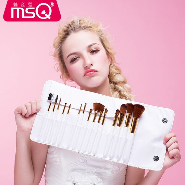 15PCS Makeup Brush Set Professional MSQ With PU Bag Brand New Cosmetics White Wooden Handle Wholesale Elaborate Make Up Brush Tools DHL Free