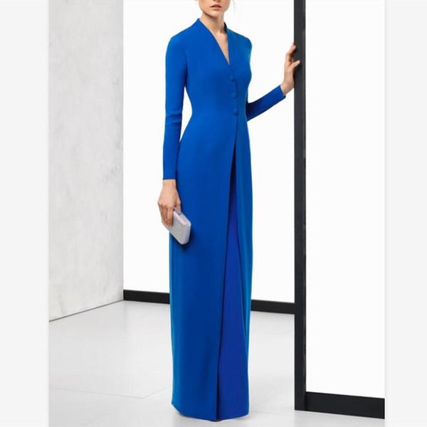2019 elegante blaue Chiffon Mutterkleider mit langen Ärmeln V-Ausschnitt bodenlangen Mutter der Braut Kleider mit Wickel plus Größe Abendkleider