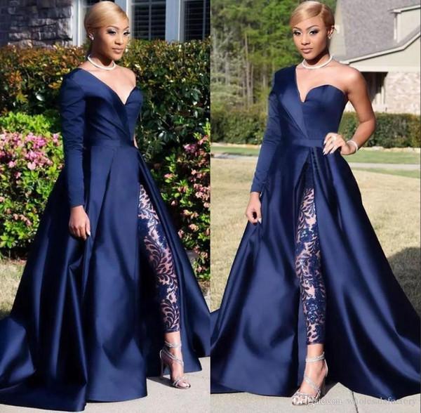 Elegantes vestidos de noche de manga larga de un hombro Trajes de pantalón Una línea Azul marino oscuro Split Vestidos de fiesta de graduación Mono Vestidos de celebridades BC0282
