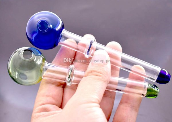 Multi-colors glass pipes Curved Glass Oil Burners Pipes 12cm length 30mm ball Balancer Water Pipe smoking pipes free shipping
