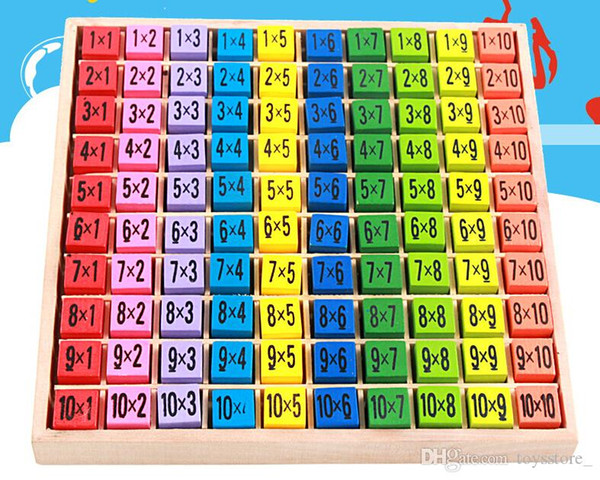 Multiplication Table Math Toy 10x10 Double Side Pattern Printed Board Colorful Wooden Figure Block Kids Educational Toy