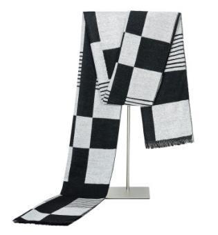 Otoño e invierno de 2018 Bufandas vendedoras calientes Seda de felpa de los hombres Bufandas de inspector en blanco y negro Bufandas de ocio de negocios