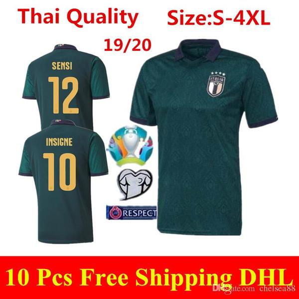 2020 Coupe d'Europe ITALIE troisième Jersey 19 20 Italia sombres maillots de football vert CHIELLINI Verratti INSIGNE PIRLO BONUCCI football chemises S-4XL