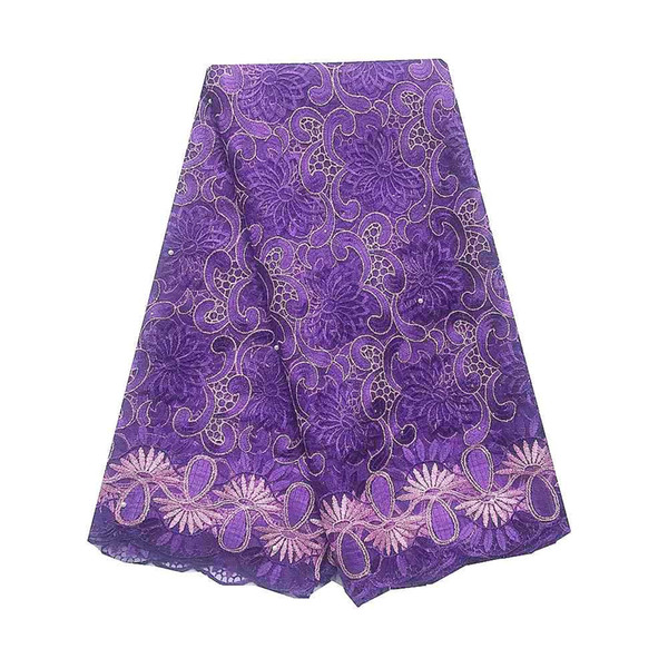 New African Bridal Lace Fabric Wedding French Tulle Nigerian Lace Fabric 2019 High Quality Royal Blue Purple Lace Fabric
