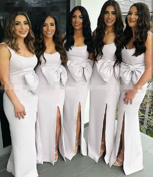 Grey Big Bow Side Split Bridesmaid Dresses Prom 2019 Scoop Backless Sheath Maid Of Honor Wedding Guest Dress Formal Party Evening Gowns