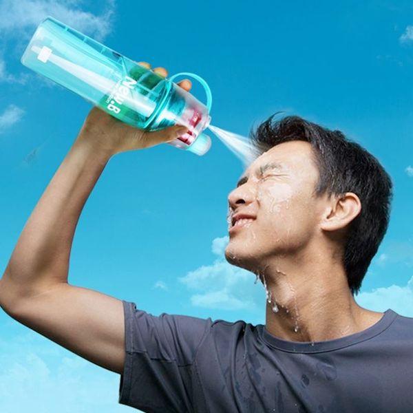 Creative Button Spray Water Bottle 600ML Professional Sports Bottle Measure Mark Outdoor Hiking Portable Atomizing Drinking Bottles Kettle