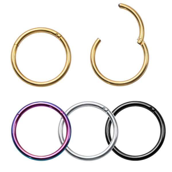 16G Stainless Steel Hinged Seamless Septum Clicker Lip Nose Hoop Rings Helix Daith Cartilage Tragus Body Piercing Jewelry Wholesale
