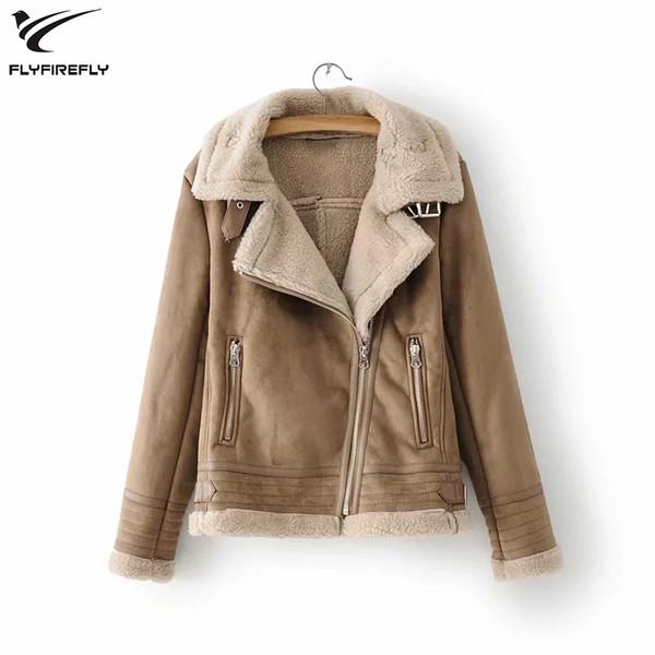 Inverno Cordeiro Faux Leather Jacket Mulheres Winter Brasão lã de carneiro gola de pele de camurça casaco quente Feminino Grosso Motos Casacos 2019