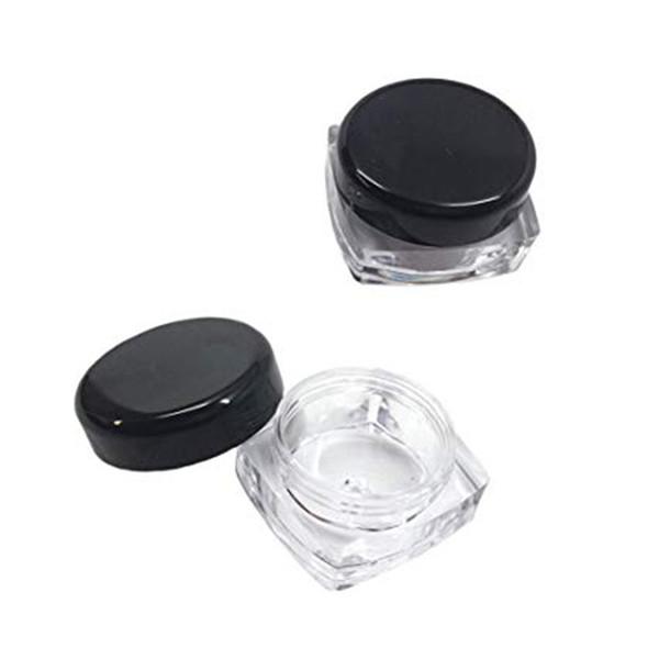 Free shipping square bottom plastic loose powder jar 3g 5g, acrylic plastic lip balm pot container with black lid cosmetic cream jar