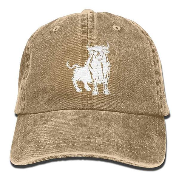2019 New Wholesale Baseball Print Hat High Caps Mens Cotton Washed Twill Baseball Cap Angry Bull Matador Hat