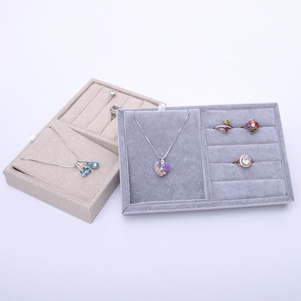 [DDisplay] Espositore per gioielli in lino con rettangolo Esposizione speciale per orecchini in velluto di ghiaccio Supporto per gioielli con pendente classico