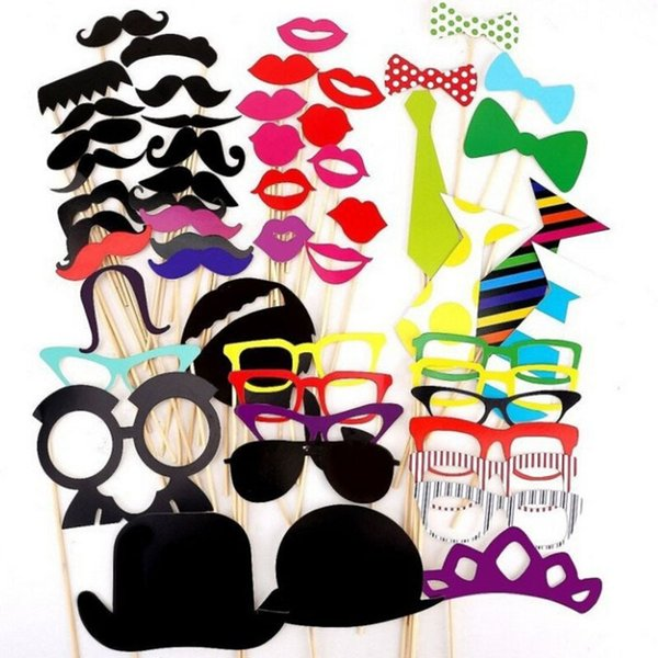 58 Pcs/set DIY Party Mask Moustache Wedding Birthday Photo Booth Props On A Stick Wedding Party Favor Supplies