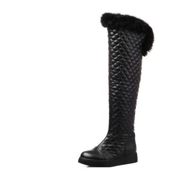 48e87ecdc31 Plus velvet over-the-knee thickening long design snow boots flat boots  winter boots female medium-leg rabbit fur winter