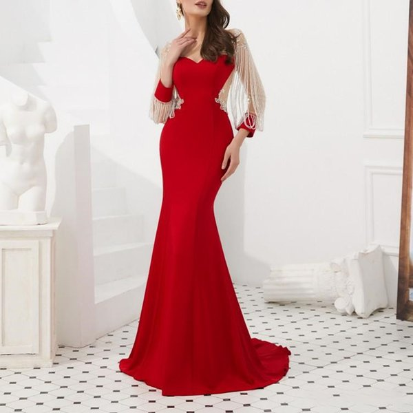 2019 Fashion Red Satin Mermaid Prom Dresses Custom Beads Long Sleeves Evening Gowns Sheer Neck Plus Size Women Formal Dress