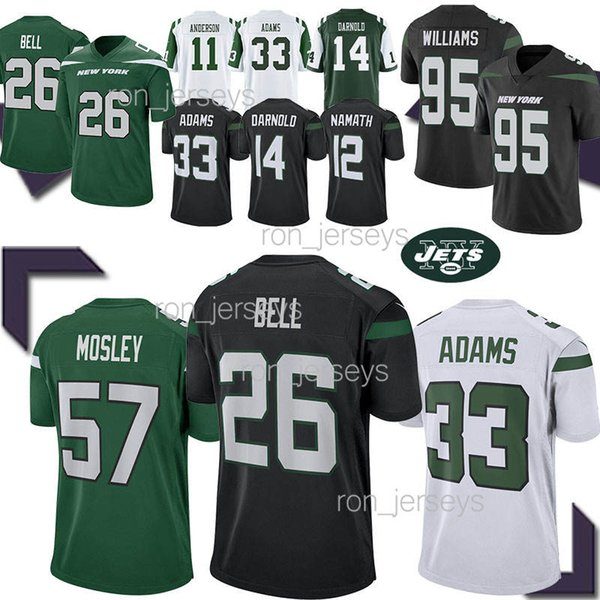 Jets 26 Le'Veon Bell New York jerseys 33 Jamal Adams 57 MOSLEY 14 Sam Darnold 12 Joe Namath Jersey 2019 mens designer t shirts