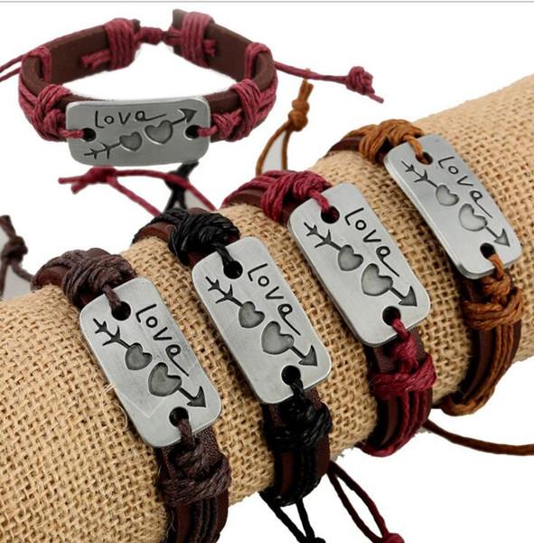 Nouveaux amoureux Bracelet Charme Double Coeur Amour Bracelet En Cuir De Mode Couple Pas Cher Bijoux Pour Hommes Et Femmes