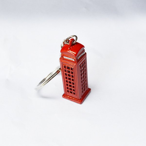 London Telephone Box Key Chain Exit UK Memorial Gift