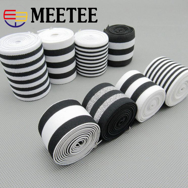 White Black Strip Nylon Elastic Bands High Tenacity Rubber Bands Clothes Lace Trim Waist Band Garment Trouser Accessories