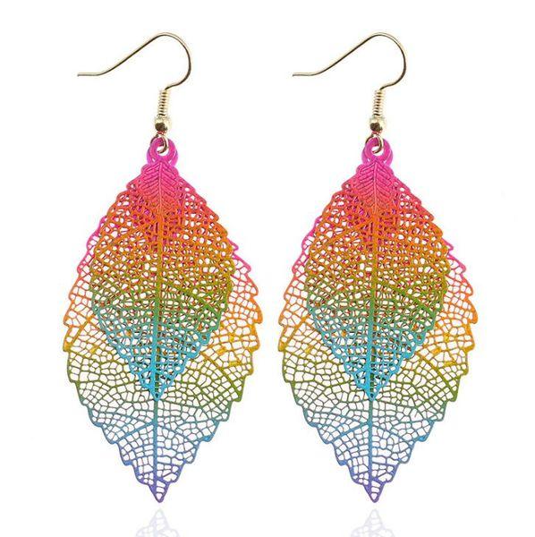 Fashion Luxury boho Leaf Dangle earrings 1Pair Fashion Double Layers Leaf Leaves Drop Earrings Long Tassel Dangle Earring For Women
