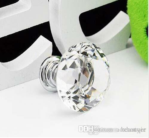 Wholesale New Hot Selling 30mm Diamond Shape Crystal Glass Cabinet Handle Cupboard Drawer Knob Pull