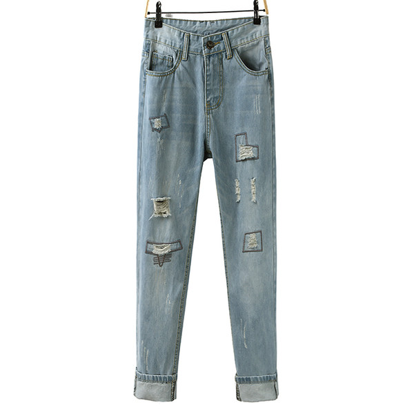 New Men's and Women's Clothing Denim Cloth Loose Large Size Ins Style Oldman Pencil Hole Jeans Outfits Pants Trousers