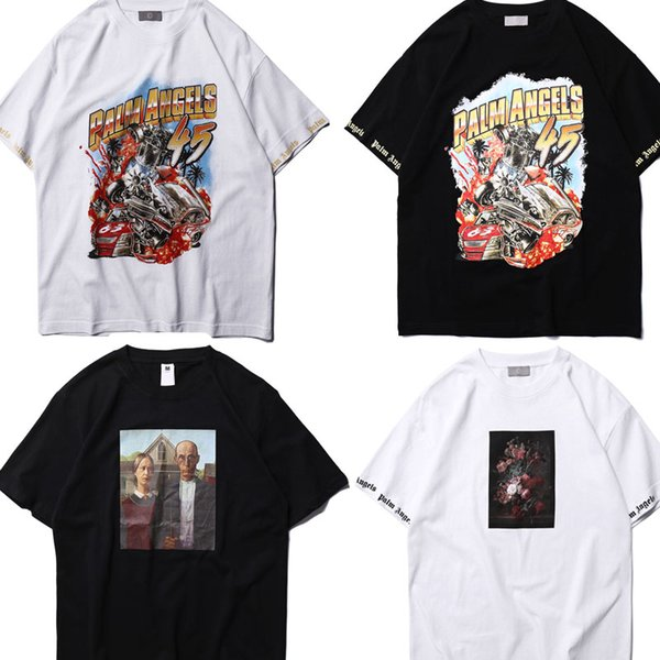 2019 Best Quality Summer Style Have Palm Angels T Shirts Couple Flower Car Skateboard Cotton100% Men Palm Angels Top Tees