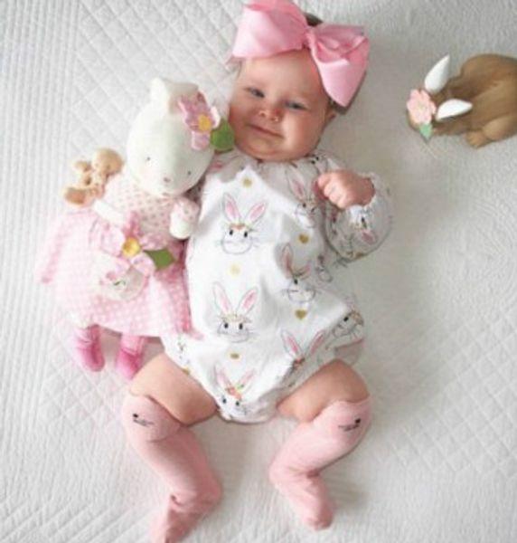2019 New easter day full print bodysuit bodysuits little girls clothing Newborn Floral Full Print Baby Boy Girl Clothes Jumpsuit Romper