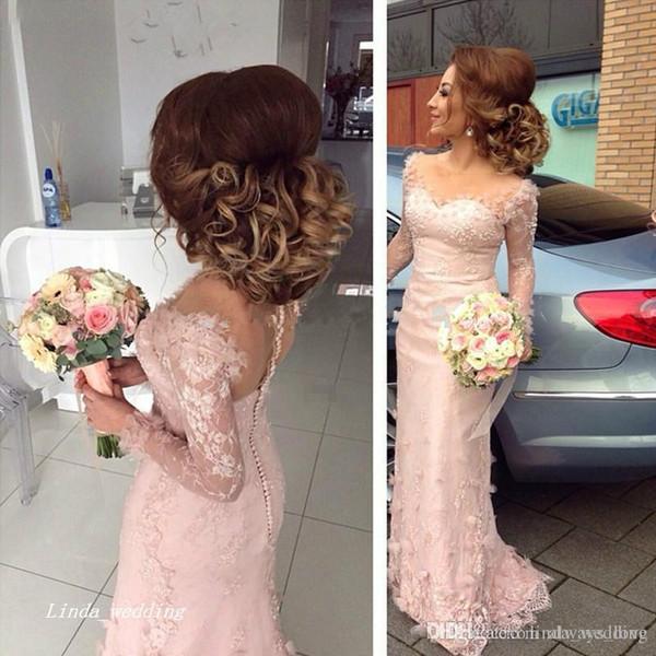 2019 Robe de demoiselle d'honneur rose clair boutons de sirène élégants Retour dentelle à manches longues formelle demoiselle d'honneur robe de soirée robe de soirée, plus la taille