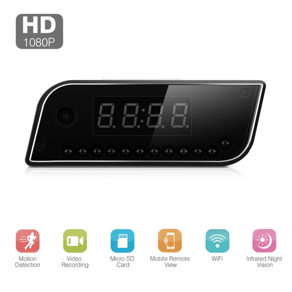 FLOUREON 1080P Clock-type IP camera remote control Security camera battery SD card motion detection Night Vision