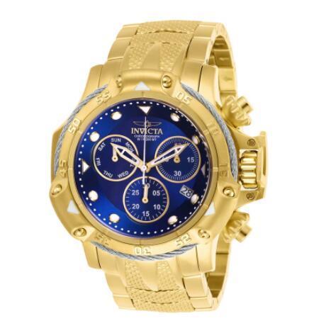 Invicta brand Model -26726 Subaqua Poseidon Bolt Chronograph Gold Plated Steel Gold Blue 50mm Men's quartz Watch