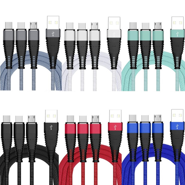 3 in 1 type c micro usb cable 1.2m 4ft braided nylon alloy usb charging cables wire for samsung s8 s9 s10 htc lg android phone