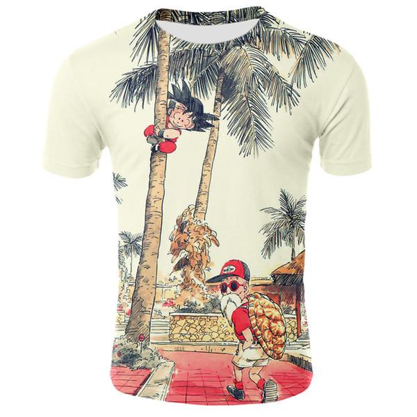 Moda Dragon ball Z goku 3d baskı erkek tasarımcı t shirt gündelik yaz tshirt kısa kollu erkek giyim streetwear