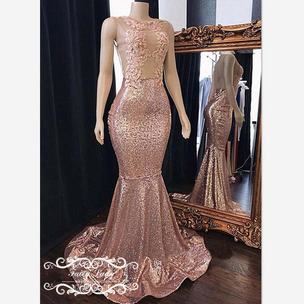 Brilliant Sequined Mermaid Prom Dresses With Appliques 2019 Illusion Sheer Back Long Formal Evening Dress Party For Women