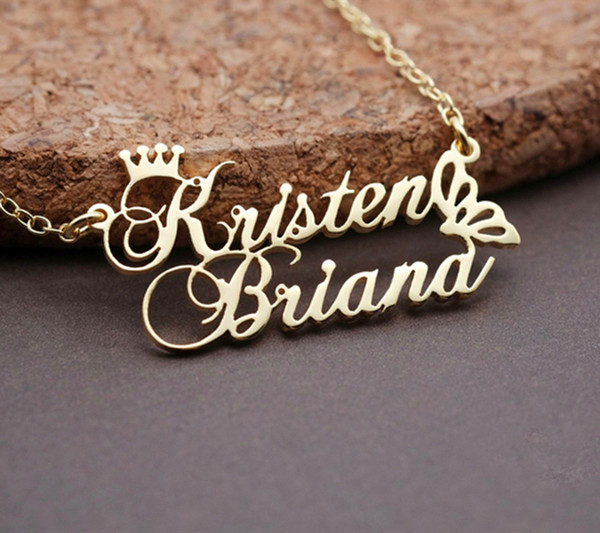 Custom Crown Double Name Necklace Personalized Gold Color Butterfly Pendant Necklace Stainless Steel Jewelry Gifts For Women MX190730